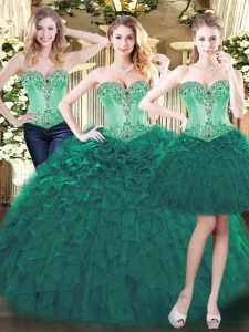 Exquisite Green Sleeveless Organza Lace Up Quinceanera Dresses for Military Ball and Sweet 16 and Quinceanera