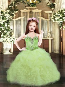 Custom Fit Ball Gowns Pageant Gowns For Girls Yellow Green Spaghetti Straps Organza Sleeveless Floor Length Lace Up