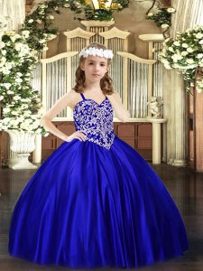 Amazing Royal Blue Sleeveless Satin Lace Up Pageant Gowns For Girls for Party and Quinceanera