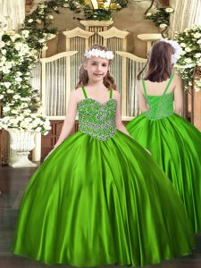 Luxurious Green Ball Gowns Straps Sleeveless Satin Floor Length Lace Up Beading Little Girls Pageant Dress Wholesale