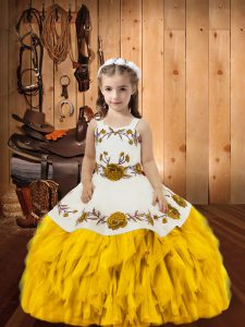 Floor Length Lace Up Little Girls Pageant Dress Wholesale Gold for Sweet 16 and Quinceanera with Embroidery and Ruffles