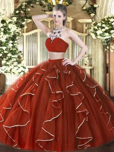 New Style Rust Red Sleeveless Tulle Backless 15th Birthday Dress for Military Ball and Sweet 16 and Quinceanera