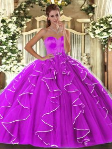 Fuchsia Ball Gowns Sweetheart Sleeveless Organza Floor Length Lace Up Beading and Ruffles Quinceanera Gown