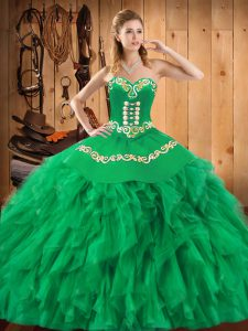 Deluxe Green Quinceanera Dress Military Ball and Sweet 16 and Quinceanera with Embroidery and Ruffles Sweetheart Sleeveless Lace Up