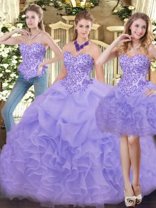 Sweetheart Sleeveless Zipper Quinceanera Gown Lavender Organza