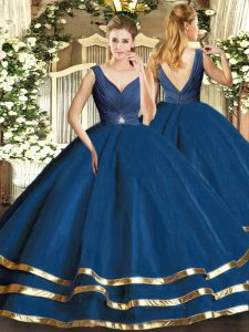Low Price Sleeveless Floor Length Beading and Ruffled Layers Backless Vestidos de Quinceanera with Navy Blue