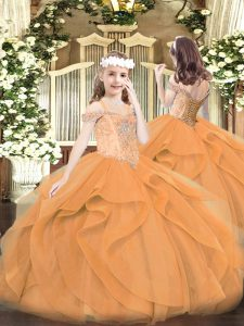 Off The Shoulder Sleeveless Girls Pageant Dresses Floor Length Beading and Ruffles Orange Tulle