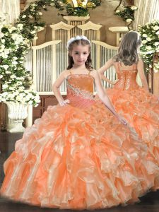 Fantastic Sleeveless Floor Length Beading and Sequins Lace Up Little Girls Pageant Gowns with Orange