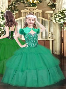 Excellent Straps Sleeveless Organza Little Girls Pageant Gowns Beading and Ruffled Layers Lace Up
