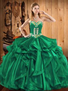 Custom Designed Sleeveless Floor Length Embroidery and Ruffles Lace Up Vestidos de Quinceanera with Turquoise