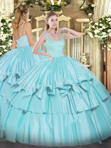 Sexy Aqua Blue Sleeveless Beading and Ruffled Layers Floor Length Sweet 16 Quinceanera Dress