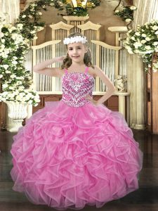 Straps Sleeveless Kids Pageant Dress Floor Length Beading and Ruffles Rose Pink Organza