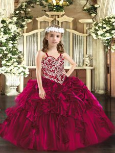Stylish Fuchsia Ball Gowns Beading and Ruffles Little Girl Pageant Dress Lace Up Organza Sleeveless Floor Length