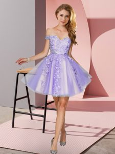 Off The Shoulder Sleeveless Quinceanera Dama Dress Mini Length Appliques Lavender Tulle