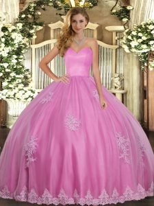 Sweetheart Sleeveless Lace Up 15th Birthday Dress Rose Pink Tulle