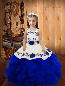 Royal Blue Tulle Lace Up Child Pageant Dress Sleeveless Floor Length Embroidery and Ruffles