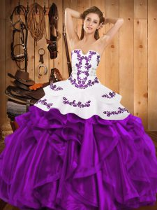 Floor Length Lace Up Quinceanera Gowns Eggplant Purple for Military Ball and Sweet 16 and Quinceanera with Embroidery and Ruffles