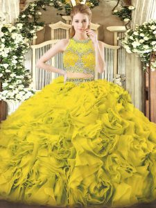 Scoop Sleeveless Sweet 16 Quinceanera Dress Floor Length Beading Gold Fabric With Rolling Flowers
