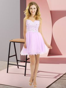 Beading and Lace Quinceanera Court Dresses Lilac Side Zipper Sleeveless Mini Length