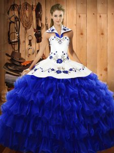 Pretty Halter Top Sleeveless Ball Gown Prom Dress Floor Length Embroidery and Ruffled Layers Royal Blue Organza