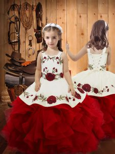 Floor Length Wine Red Kids Pageant Dress Satin and Tulle Sleeveless Embroidery and Ruffles