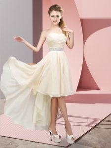 Stunning Champagne A-line Chiffon Sweetheart Sleeveless Beading High Low Lace Up Dama Dress for Quinceanera