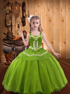 Cheap Sleeveless Lace Up Floor Length Embroidery Little Girls Pageant Dress