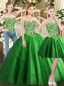 Green Tulle Lace Up Sweetheart Sleeveless Floor Length Quinceanera Dress Beading