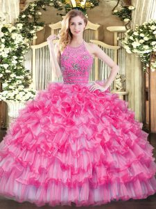 Glamorous Sleeveless Tulle Floor Length Zipper Sweet 16 Quinceanera Dress in Hot Pink with Beading and Ruffled Layers