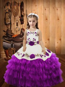 Excellent Sleeveless Lace Lace Up Little Girls Pageant Dress Wholesale with Eggplant Purple