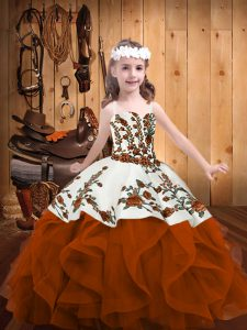 Straps Sleeveless Little Girl Pageant Gowns Floor Length Embroidery and Ruffles Rust Red Organza