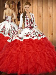 Floor Length Lace Up Quince Ball Gowns Red for Military Ball and Sweet 16 and Quinceanera with Embroidery and Ruffles