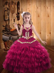 Cheap Sleeveless Organza Floor Length Lace Up Pageant Gowns For Girls in Fuchsia with Embroidery and Ruffled Layers