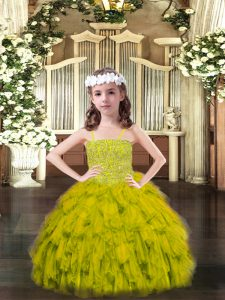Olive Green Sleeveless Beading and Ruffles Floor Length Pageant Dress Toddler