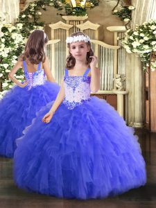 Blue Sleeveless Tulle Lace Up Little Girls Pageant Gowns for Party and Quinceanera