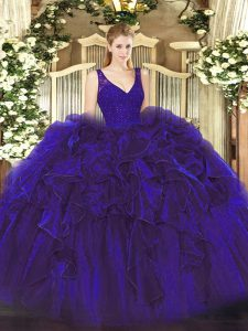 Chic Purple Organza Backless V-neck Sleeveless Floor Length Quince Ball Gowns Beading and Lace and Ruffles