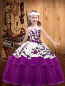 Trendy Fuchsia Ball Gowns Embroidery Little Girls Pageant Dress Wholesale Lace Up Organza and Tulle Sleeveless Floor Length