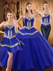 Blue Lace Up Ball Gown Prom Dress Embroidery Sleeveless Floor Length
