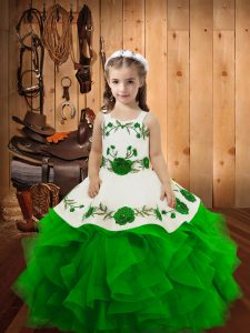 Green Sleeveless Floor Length Embroidery and Ruffles Lace Up Little Girls Pageant Gowns