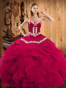Ball Gowns Quinceanera Gown Fuchsia Sweetheart Satin and Organza Sleeveless Floor Length Lace Up