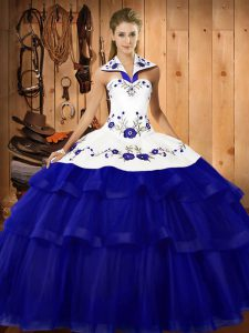 Sleeveless Embroidery and Ruffled Layers Lace Up Quinceanera Gown with Royal Blue Sweep Train