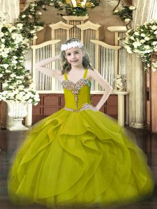 One Shoulder Sleeveless Little Girl Pageant Dress Floor Length Beading and Ruffles Olive Green Organza