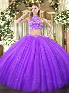 Lavender Sleeveless Tulle Backless Sweet 16 Quinceanera Dress for Military Ball and Sweet 16 and Quinceanera