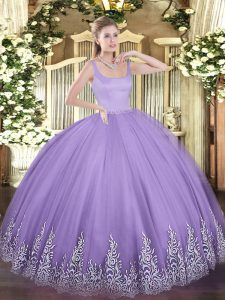 Traditional Sleeveless Zipper Floor Length Appliques Quinceanera Gowns