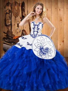 High Quality Ball Gowns Quinceanera Dresses Blue And White Strapless Satin and Organza Sleeveless Floor Length Lace Up