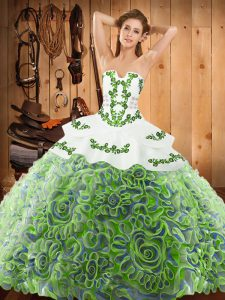 Multi-color Sleeveless With Train Embroidery Lace Up Quinceanera Dresses