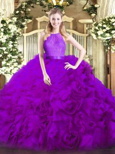Scoop Sleeveless Zipper Quinceanera Gown Eggplant Purple Fabric With Rolling Flowers