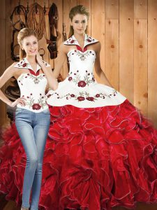 Floor Length White And Red 15 Quinceanera Dress Satin and Organza Sleeveless Embroidery and Ruffles