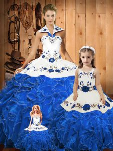 Elegant Blue Sleeveless Embroidery and Ruffles Floor Length Quinceanera Gowns