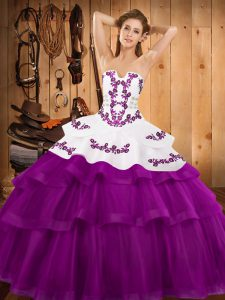 On Sale Embroidery and Ruffled Layers Sweet 16 Dress Fuchsia Lace Up Sleeveless Sweep Train